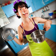 Crazy housewife — Foto de Stock