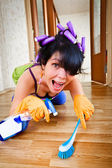 Housewife washes a floor — Stock Photo