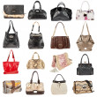 Female leather handbags on a white background - Stock Photo