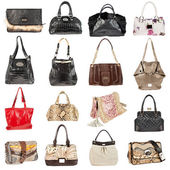 Female leather handbags on a white background — Stock Photo