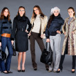 Five girls. Autumn winter collection lady's clothes — Stockfoto #4674748