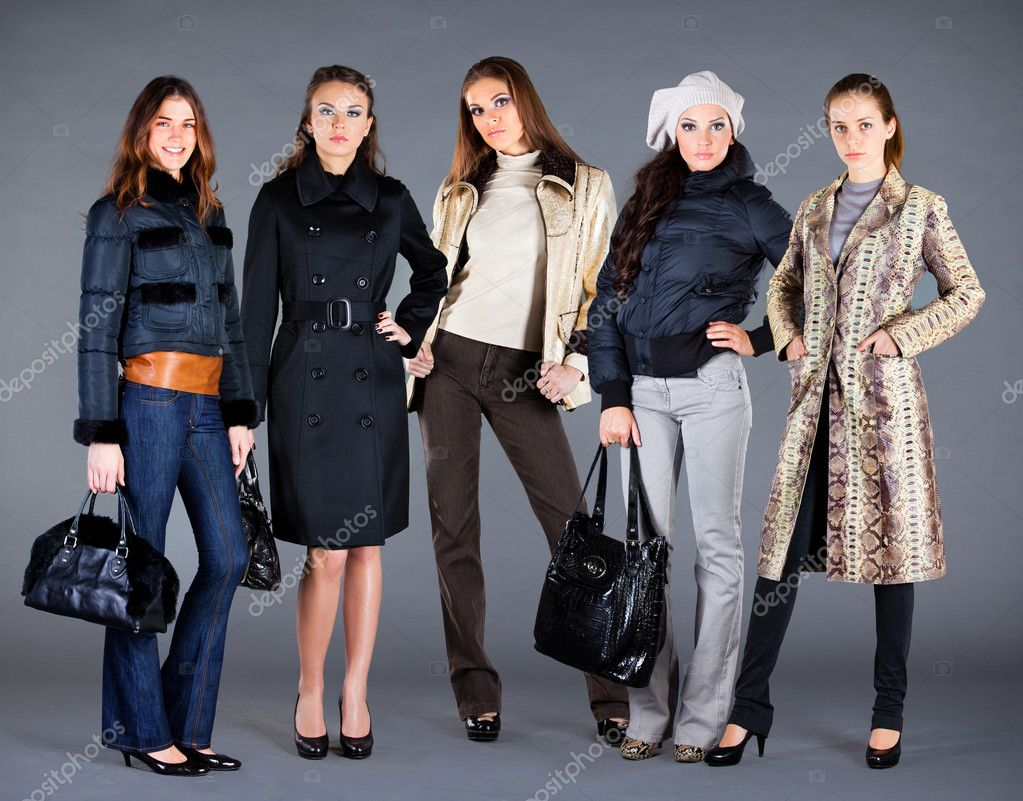 Five girls in different clothes, autumn winter collection clothes — Stock Photo #4674748