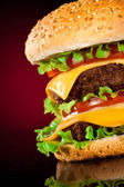 Tasty and appetizing hamburger on a darkly red — Stock Photo