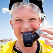 Boy in holiday on the sea — Stock Photo