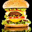 Tasty and appetizing hamburger on a dark — Stock Photo