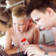 Royalty-Free Stock Photo: Two boys play a laptop on rest in a bar on a beach