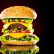 Stock Photo: Tasty and appetizing hamburger on darkly red