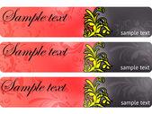 Conjunto de banner vintage floral de cor. eps 10 — Vetorial Stock
