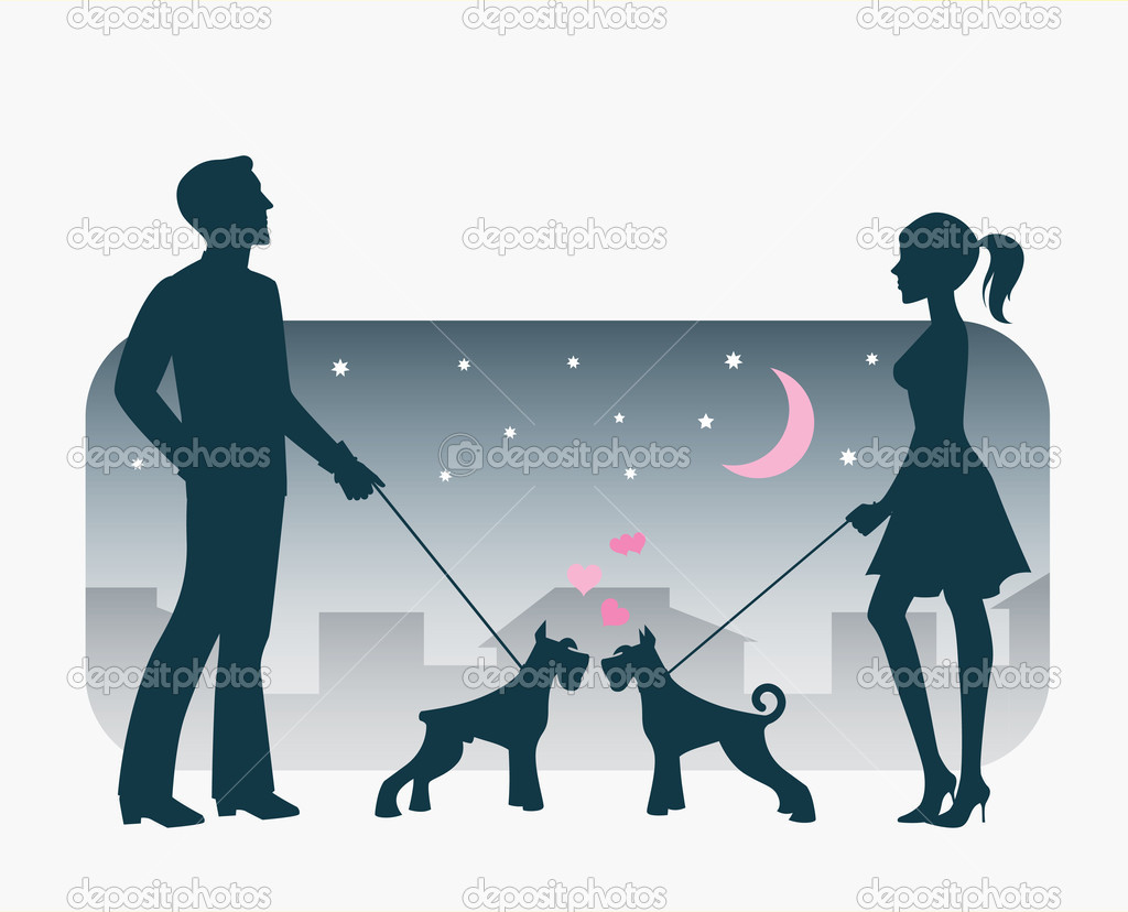 Young couple met each other on an evening stroll. — Stock Vector #3988870