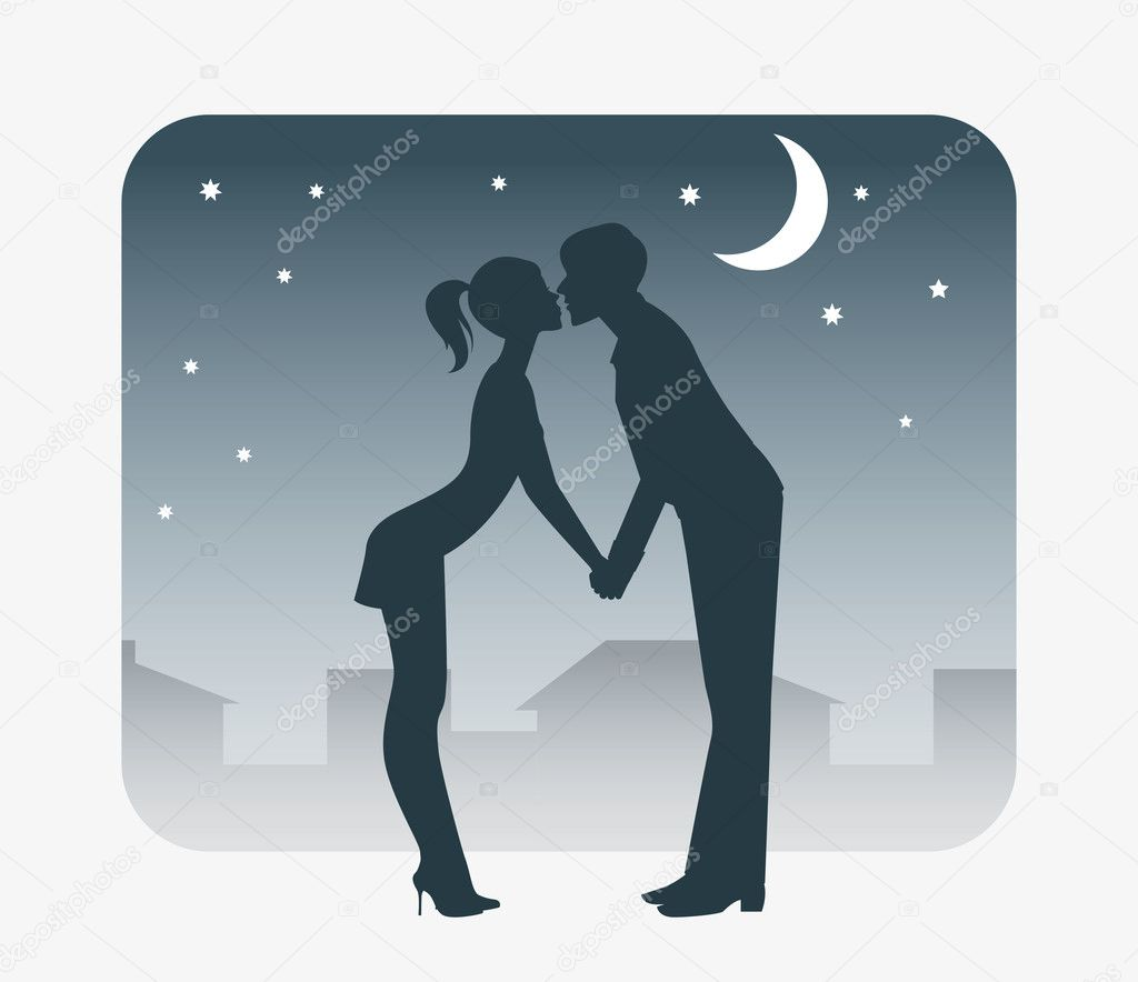 In love with a boy and girl kissing on a date. — Imagen vectorial #4025306