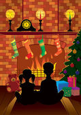 Christmas Eve by the fireplace — Vector de stock