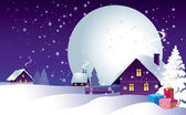 Christmas night in the village — Stock Vector