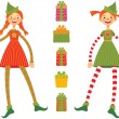 Stock Vector: Cute Christmas elves