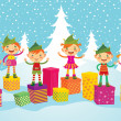 Merry Christmas Elves - Image vectorielle