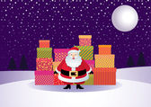 Santa with gifts on the background of a winter landscape — Stock Vector