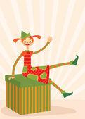 Christmas elf sitting on a gift box — Stock Vector