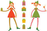 Cute Christmas elves — Stock Vector