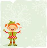 Weinig kerstmis elf — Stockvector