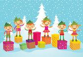 Merry Christmas Elves — Stock Vector