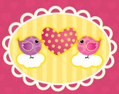 Birdie with a heart — Stock Vector