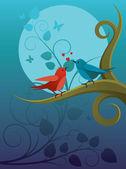 Lovers birdie — Stock Vector