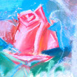Drawing of red rose by pastel — Stock Photo
