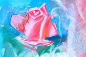 рисование красная роза, пастель — Стоковое фото