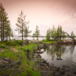 Beautiful northern landscape on the lake — Stock Photo