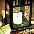 Old lantern and autumn leaves — Stock Photo