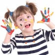 Four-year girl with hands soiled in a paint — Stock Photo #5037887