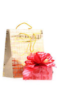 Paper golden package and box with a gift, — Stock Photo