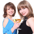 Two nice girls drink wine on a party — Stock Photo