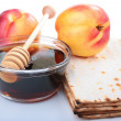 Stock Photo: Matzah and nectarine