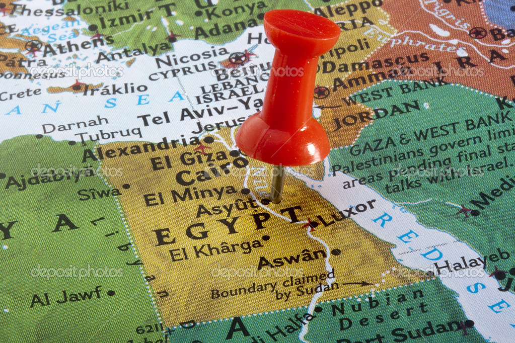 Country of Egypt pinned on a world map. — Stock Photo #4867237