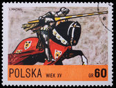 Poland - CIRCA 1967: A stamp - knight — Stock Photo