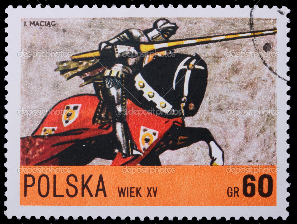 Poland - CIRCA 1967: A stamp is printed in Poland, knight, CIRCA in 1967. — Stock Photo #4948625