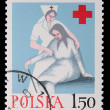 Stock Photo: Poland - CIRC1964: stamp - Caring for elderly