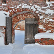 图库照片: Old wooden gate in ancient russian monastery