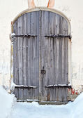 Old wooden door in ancient russian monastery — Stock Photo