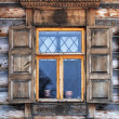 Window in old wooden country house — Stock Photo