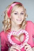 Happy glamorous blond girl — Stock Photo