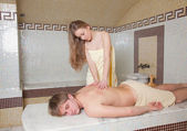 Making body massage girl — Stock Photo