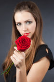 Rose and girl — Stock Photo
