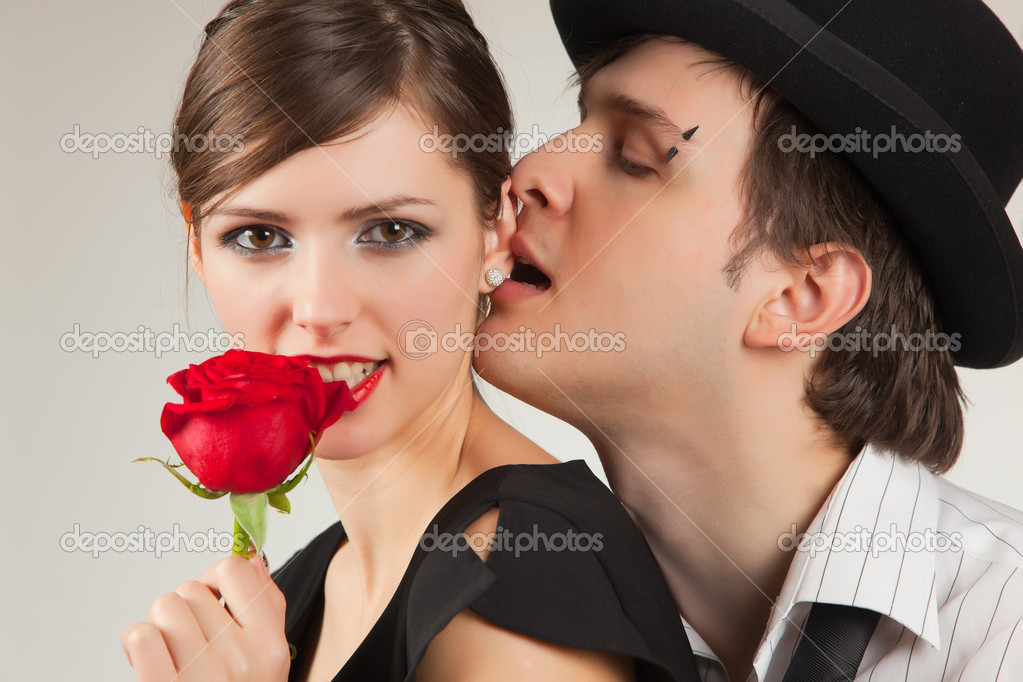 Romantic portrait of young pair, studio isolated shot — Stock Photo #5099024