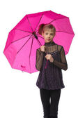 Pretty girl with pink umbrella. Isolated over white — Stock Photo