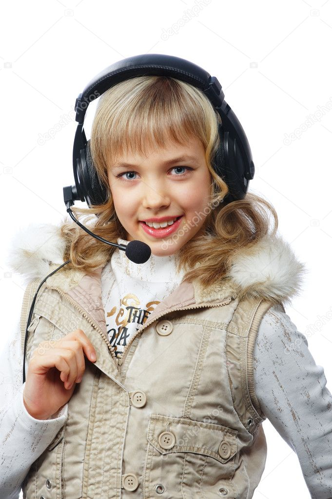 Happy teenage girl in headphones over white, isolated — Stock Photo #5196913