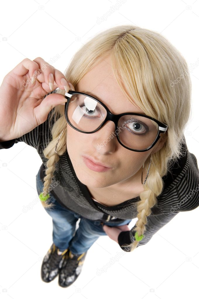 Smart young blond woman with funny glasses and plait looks like nerdy girl. Pose and looking at camera, humor style on white background. — Stock Photo #5216689