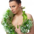 Stock Photo: Pretty naked womin flowers chaplet