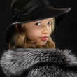 Portrait beautiful young lady in grey fur and hat — Stock Photo #5254808