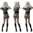 Tree girls holding happy and sad face masks symbolizing changing — Stock Photo